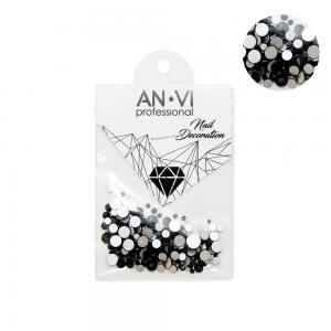 Стразы сваровски ANVI Professional MIX черные №18 200 шт - 00-00000894