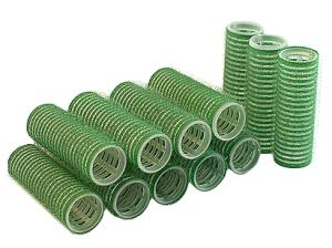 Бигуди на липучке Sibel зеленые 21 мм*12 шт - 00-00001163