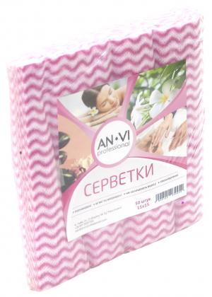 Серветки одноразові поскладані рожева хвилька ANVI  (15*15) 50 шт    - 00-00003445