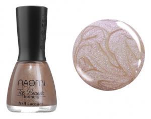 Лак для нігтів №077 Naomi Світло-коричневий з рожевими блискітками 12мл - 00-00004457