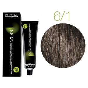 Крем-краска для волос L'Oreal Professionnel INOA Mix 1+1 №6/1 Темный пепельный блонд 60 мл - 00-00004688