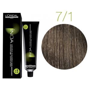 Крем-краска для волос L'Oreal Professionnel INOA Mix 1+1 №7/1 Пепельный блонд 60 мл - 00-00004689