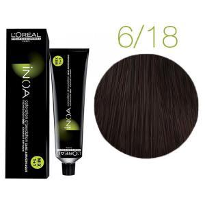 Крем-краска для волос L'Oreal Professionnel INOA Mix 1+1 №6/18 Темный пепельный блонд мокко 60 мл - 00-00004706