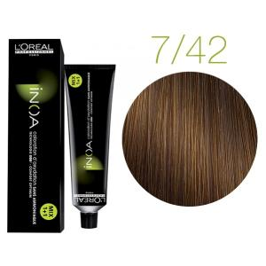 Крем-краска для волос L'Oreal Professionnel INOA Mix 1+1 №7/42 Светлый коричневый 60 мл - 00-00004709