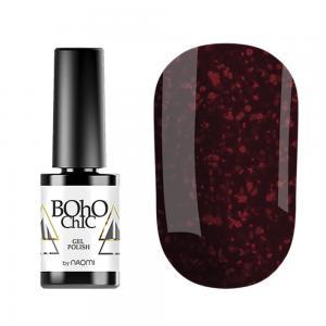 Гель-лак для нігтів Naomi Boho Chic №BC068 Щільний виноградний з червоними блискітками 6 мл - 00-00008233