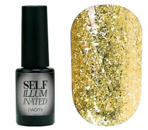 Гель-лак для нігтів Naomi 'Self Illuminated' №22 Щільний слюда на золотій підкладці 6 мл - 00-00008248
