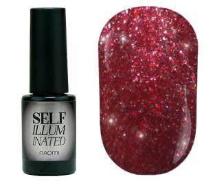 Гель-лак для нігтів Naomi 'Self Illuminated' №23 Щільний слюда на вишнево-червоній підкладці 6 мл - 00-00008249