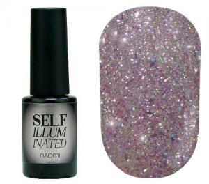 Гель-лак для нігтів Naomi 'Self Illuminated' №25 Щільний бузкове срібло з блискітками, слюдою і сріблястими конфетті 6 мл - 00-00008250