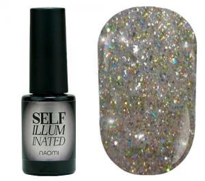 Гель-лак для нігтів Naomi 'Self Illuminated' №26 Щільний салатове срібло з блискітками, слюдою і салатовим конфетті 6 мл - 00-00008251