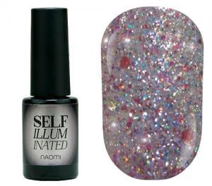 Гель-лак для нігтів Naomi 'Self Illuminated' №27 Щільний рожеве срібло з блискітками, слюдою і червоними конфетті 6 мл - 00-00008252
