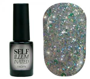 Гель-лак для нігтів Naomi 'Self Illuminated' №28 Щільний світло-зелений з блискітками, слюдою і зеленими конфетті 6 мл - 00-00008253