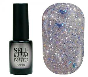 Гель-лак для нігтів Naomi 'Self Illuminated' №29 Щільний срібло з блискітками, слюдою і синіми конфетті 6 мл - 00-00008254