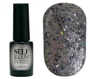 Гель-лак для нігтів Naomi 'Self Illuminated' №30 Щільний срібло з блискітками, слюдою і жовто-салатовим конфетті 6 мл - 00-00008255