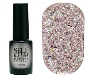 Гель-лак для нігтів Naomi 'Self Illuminated' №31 Щільний світла рожева бронза з кольоровими блискітками і слюдою 6 мл - 00-00008256
