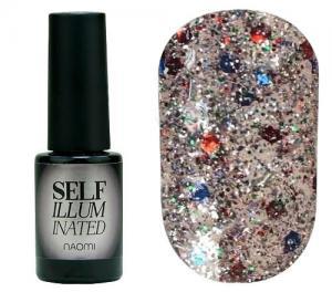 Гель-лак для нігтів Naomi 'Self Illuminated' №32 Щільний срібло з блискітками, слюдою і червоно-синіми конфетті  6 мл - 00-00008257