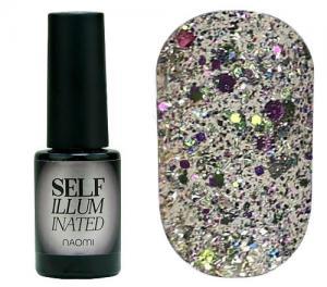 Гель-лак для нігтів Naomi 'Self Illuminated' №33 Щільний срібло з блискітками, слюдою і салатово-рожевими конфетті  6 мл - 00-00008258
