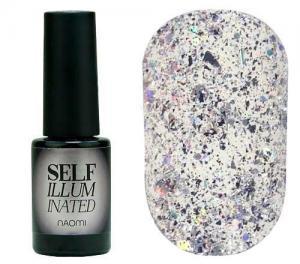 Гель-лак для нігтів Naomi 'Self Illuminated' №34 Щільний срібло з блискітками, слюдою, фольгою-стружкою і конфетті 6 мл - 00-00008259