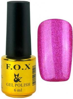 Гель-лак для нігтів FOX №123 Малиновий глітер 6 мл - 00-00008657
