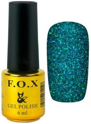 Гель-лак для нігтів FOX №169 Бірюзовий глітер 6 мл - 00-00008703