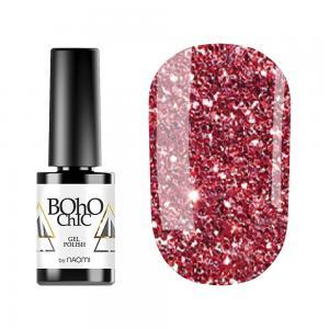 Гель-лак для нігтів Naomi  Boho Chic №BC129 Напівпрозорий червоні блискітки на бузковому тлі 6 мл - 00-00008917