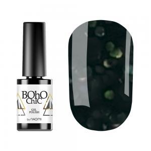 Гель-лак для нігтів Naomi  Boho Chic №BC131 Щільний чорний з синьо-зеленими блискітками 6 мл - 00-00008919