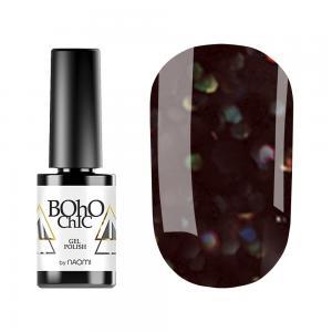 Гель-лак для нігтів Naomi Boho Chic №BC132 Щільний коричнево-чорний з кольоровими блискітками 6 мл - 00-00008921
