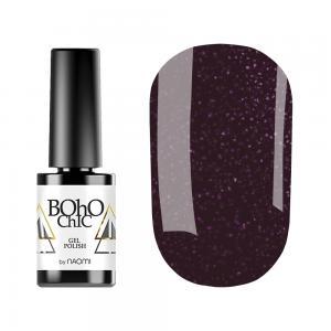 Гель-лак для нігтів Naomi Boho Chic №BC134 Щільний лілово-баклажанний з рожевими блискітками 6 мл - 00-00008923