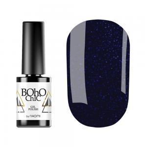Гель-лак для нігтів Naomi Boho Chic №BC136 Щільний темно-синій з синіми блискітками 6 мл - 00-00008925
