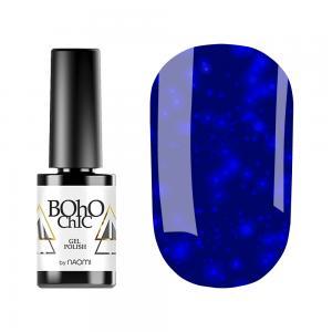 Гель-лак для нігтів Naomi Boho Chic №BC137 Щільний синій електрик з синіми блискітками 6 мл - 00-00008926