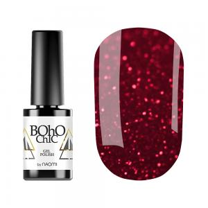Гель-лак для нігтів Naomi Boho Chic №BC151 Щільний темно-червоний з блискітками (емаль) 6 мл - 00-00008940