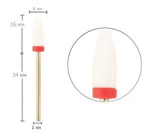 Насадка до фрезера керамічна з резинкою Tirch Cylinder F 3/32   - 00-00009456