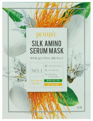 Маска для обличчя з протеїнами шовку Petitfee Silk Amino 25 мл*10 шт - 00-00011408