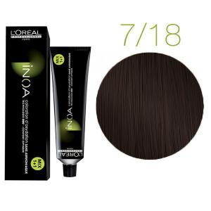 Крем-фарба для волосся L'Oreal Professionnel INOA Mix 1+1 №7/18 Темний шоколад 60 мл - 00-00004707