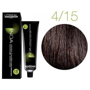 Крем-фарба для волосся L'Oreal Professionnel INOA Mix 1+1 №4/15 темний шатен попелясто-червоний 60 мл - 00-00004708
